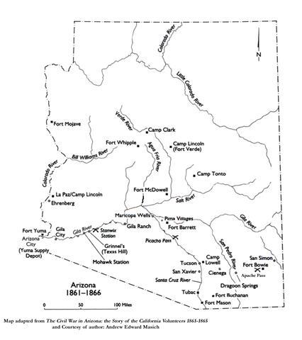 arizona map 1861-1866